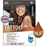 SKULLPAPER Tattoo-Transferfolie FÜR DIE HAUT - zum aufkleben und selbst gestalten - für Inkjet Tintenstrahldrucker (A5...